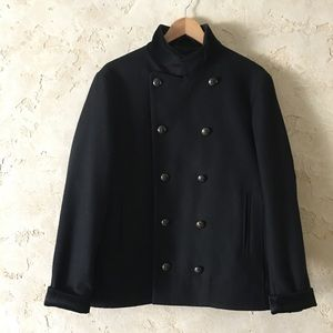 John Varvatos Double Breasted Wool & Velvet Jacket